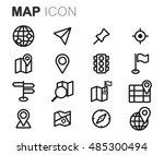 vector black line map icons set ... | Shutterstock .eps vector #485300494