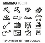 vector black line mining icons...