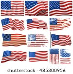 independence day usa flags | Shutterstock .eps vector #485300956