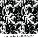 seamless paisley black end... | Shutterstock .eps vector #485304550