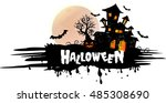 halloween night background with ... | Shutterstock .eps vector #485308690