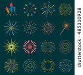 firework icon set with petard ... | Shutterstock .eps vector #485310928