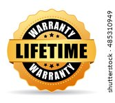 lifetime warranty gold icon... | Shutterstock .eps vector #485310949