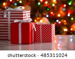 christmas presents and balls... | Shutterstock . vector #485311024