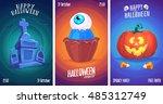 halloween illustration cemetery ... | Shutterstock .eps vector #485312749