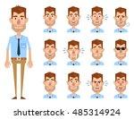 big set of cheerful businessman ... | Shutterstock .eps vector #485314924