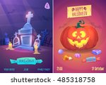 halloween illustration cemetery ... | Shutterstock .eps vector #485318758