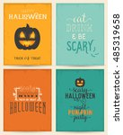 halloween party design elements ... | Shutterstock .eps vector #485319658