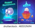halloween illustration glowing... | Shutterstock .eps vector #485319694