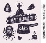 halloween illustration. vector... | Shutterstock .eps vector #485319700