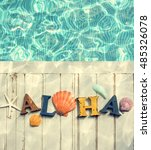 Small photo of Aloha Text Swimming Pool Water Shells Concept