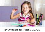 Little Girl Is Drawing Pictures - stock photo