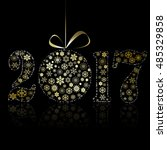 new 2017 year symbol on black... | Shutterstock .eps vector #485329858