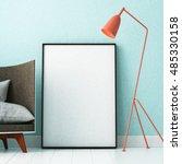 mockup poster in the interior... | Shutterstock . vector #485330158
