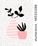 pink and vase and pot with... | Shutterstock .eps vector #485331088