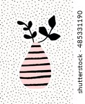 pink and black stripes vase... | Shutterstock .eps vector #485331190