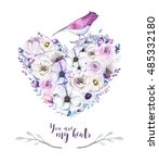 watercolor vintage rose floral... | Shutterstock . vector #485332180