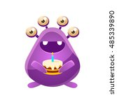 purple toy monster with... | Shutterstock .eps vector #485339890