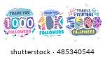 follow memphis banner. trendy... | Shutterstock .eps vector #485340544