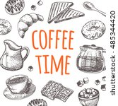 coffee time card with elements... | Shutterstock .eps vector #485344420