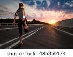 Stock photo stretching run runner road jogging clothes flare sunset street fitness cross sunbeam success 485350174