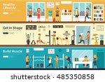 healthy lifestyle get in shape... | Shutterstock .eps vector #485350858