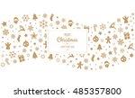 merry christmas tpye gold... | Shutterstock .eps vector #485357800