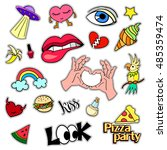 fashion patch badges. big set.... | Shutterstock .eps vector #485359474
