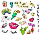fashion patch badges. big set.... | Shutterstock .eps vector #485359486