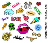 fashion patch badges. big set.... | Shutterstock .eps vector #485359528