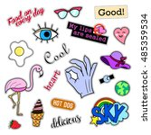fashion patch badges. big set.... | Shutterstock .eps vector #485359534