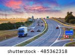 highway traffic in sunset with... | Shutterstock . vector #485362318