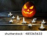 halloween jack o lantern and... | Shutterstock . vector #485365633