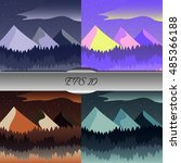 set of beautiful mountain and... | Shutterstock .eps vector #485366188