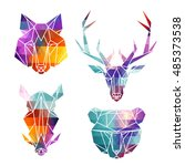 bright animal icons  vector... | Shutterstock .eps vector #485373538