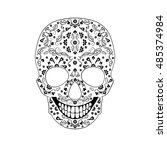 day of the dead skull with... | Shutterstock .eps vector #485374984