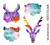bright animal icons  vector... | Shutterstock .eps vector #485376268