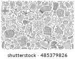 line art vector hand drawn... | Shutterstock .eps vector #485379826