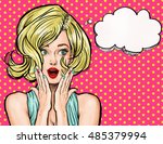 surprised young blond woman... | Shutterstock . vector #485379994