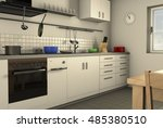 a homely kitchen 3d rendering  | Shutterstock . vector #485380510