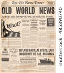 old newspaper vintage design.... | Shutterstock .eps vector #485390740