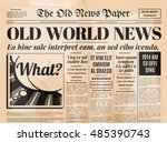 old newspaper vintage design.... | Shutterstock .eps vector #485390743