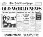 old newspaper vintage design.... | Shutterstock .eps vector #485390749