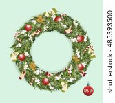 stock vector christmas wreath... | Shutterstock .eps vector #485393500