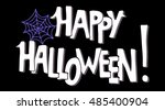 halloween card. spiderweb.... | Shutterstock .eps vector #485400904