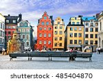 old town of stockholm   popular ... | Shutterstock . vector #485404870