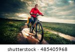 young lady hiker with loaded... | Shutterstock . vector #485405968