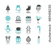 christmas icons with reflection ... | Shutterstock .eps vector #485408230