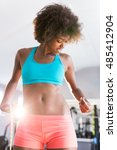 gym afro woman loosing weight... | Shutterstock . vector #485412904