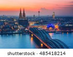 aerial view on cologne at night | Shutterstock . vector #485418214